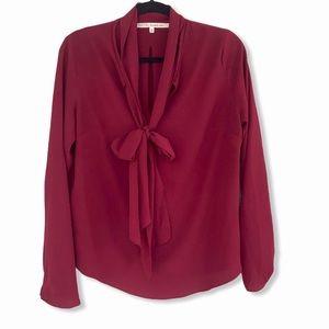 RACHEL ROY Long Sleeve Burgundy Top with Tie